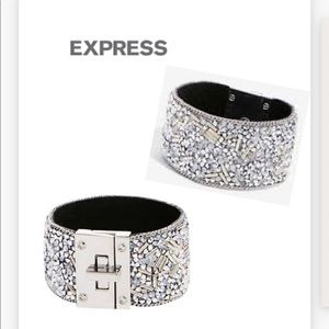 Express Silver Faceted Bead Lock Cuff Bracelet